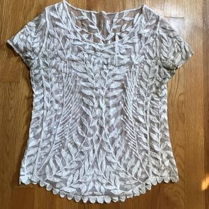 Beautiful Floral Mesh Lace Pattern Top Layer Shirt